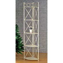 International Caravan Iron 5-Tier Corner Shelf (Whitewash)