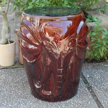 International Caravan Wild Elephant Drum Ceramic Garden Stool Brown