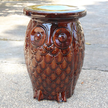International Caravan Wise Old Owl Ceramic Garden Stool Brown