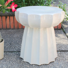 International Caravan Round Scalloped Ceramic Garden Stool Antique white
