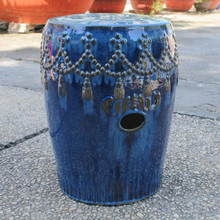 International Caravan Tasseled Drum Ceramic Garden Stool Navy Blue