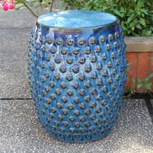 International Caravan Perforated Drum Ceramic Garden Stool Navy Blue