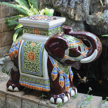 International Caravan Large Porcelain Elephant Stool  Brown Mix