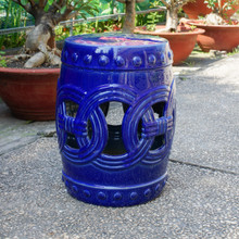 International Caravan Infinity Chain Garden Stool Navy Blue