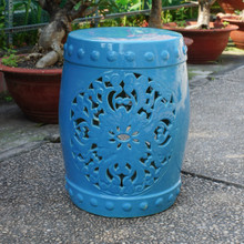 International Caravan Isfahani Garden Stool Blue