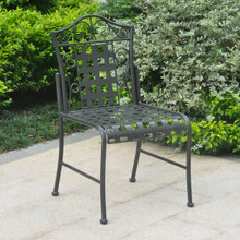 International Caravan Mandalay Iron Patio Bistro Chairs Antique Black