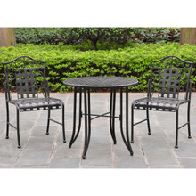 International Caravan Mandalay 3 Piece Iron Bistro Set  Antique Black