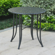 International Caravan Mandalay Iron Patio Bistro Table Antique Black