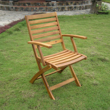 International Caravan Royal Fiji Acacia Wood Folding Ladder Back Armchair Stain