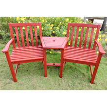 International Caravan Royal Fiji Acacia Tete a' Tete Conversation Double Arm Chair with Center Table Barn Red