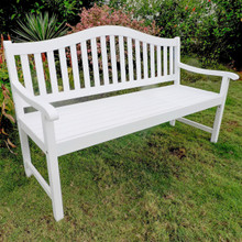International Caravan Royal Fiji Acacia 59-inch Camel Back 3-seater Bench Antique White