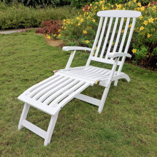 International Caravan Royal Fiji Acacia Traditional Steamer Deck Lounger Antique White