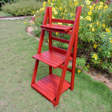 International Caravan Royal Fiji Acacia 3-Tier Plant Stand Barn Red