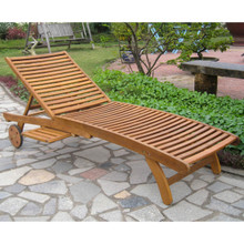 International Caravan Royal Fiji Acacia Chaise Lounge with Pull Out Tray Stain