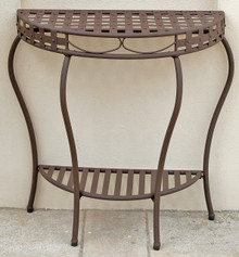 International Caravan Santa Fe Iron Nailhead 2-Tier Half Moon Table Rustic Brown
