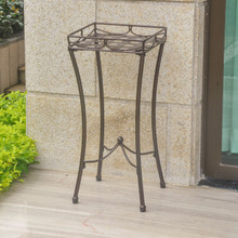 International Caravan Santa Fe Iron Nailhead Square Plant Stand Hammered Bronze