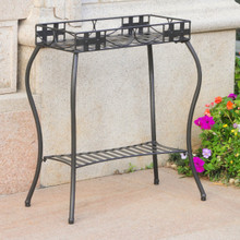 International Caravan Santa Fe Iron Nailhead Rectangular Plant Stand Antique Black