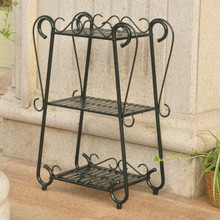 International Caravan Santa Fe Iron Nailhead 3-Tier Plant/Utility Shelf Verdi Gris