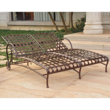 International Caravan Santa Fe Nailhead Double Multi Position Chaise Lounge Hammered Bronze