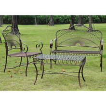 International Caravan Set of Three Sun Ray Iron Settee Group
