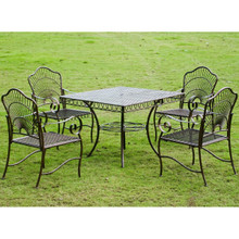 International Caravan 5-Piece Sun Ray Iron Square Dining Group