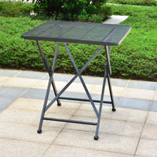 International Caravan Mandalay Outdoor Iron 28-inch Folding Square Bistro Table Antique Black