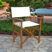 International Caravan Royal Tahiti Acacia Wood Directors Chair with Mission Style Arms Rustic Brown