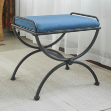 International Caravan Iron Upholstered Vanity Stool Indigo