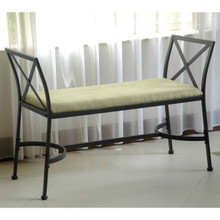 International Caravan Iron Foot-Of-Bed Bench with Cushion Sage
