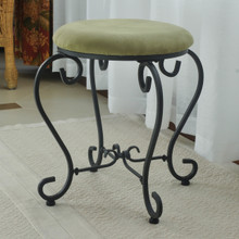 International Caravan Round Iron Vanity Stool with Cushion Sage