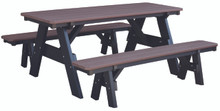 Wildridge Heritage Poly-Lumber Picnic Table with Unattached Benches