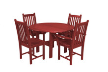 "Wildridge Classic Poly-Lumber 46"" Round Dining Table With 2 Dining Side Chairs and 2 Dining Arm Chairs"