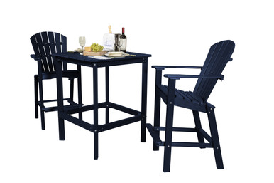 """Wildridge Classic Poly-Lumber 42"""" High Square Dining Table With 2 30"""" High Dining Chairs"""