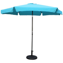 International Caravan Outdoor 12 Foot Aluminum Umbrella With Flaps Aqua Blue With Dark Grey Pole