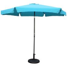 International Caravan Outdoor 12 Foot Aluminum Umbrella With Flaps Aqua Blue With Dark Grey Pole