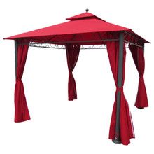 International Caravan Square 10 Foot Double Vented Gazebo With Drapes Ruby Red With Dark Grey Poles