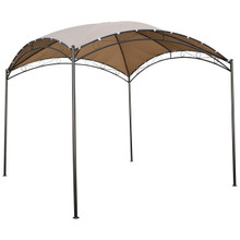 International Caravan Square 10 Foot Dome Top Gazebo Khaki With Bronze Poles