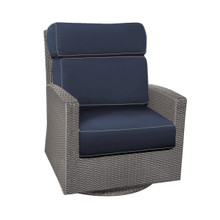 Forever Patio Barbados Wicker High Back Swivel Rocker Club Chair Heather, Spectrum Indigo  With Spectrum Dove Welt Sunbrella Fabric