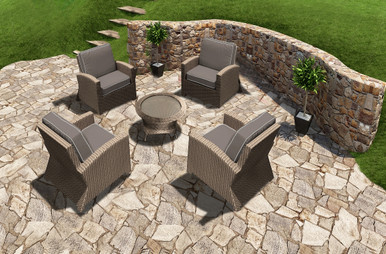 Patio Barbados Resin Wicker 5 Piece Stationary Club Chair Chat Set Biscuit, Canvas Taupe With Canvas Linen Canvas Welt Sunbrella Fabric