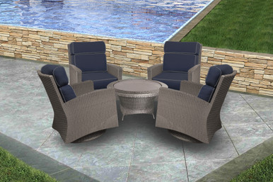 Forever Patio Barbados Resin Wicker 5 Piece High Back Swivel Club Chair Chat Set Heather, Spectrum Indigo  With Spectrum Dove Welt Sunbrella Fabric
