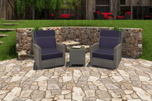 Forever Patio Barbados Resin Wicker 3 Piece High Back Rocker Club Chair Chat Set Heather, Spectrum Indigo  With Spectrum Dove Welt Sunbrella Fabric