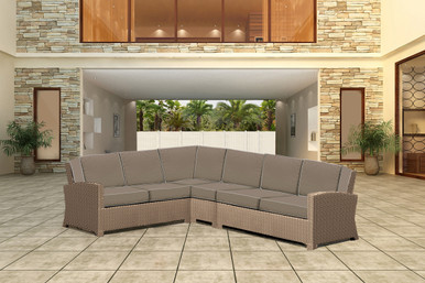 Forever Patio Barbados Wicker 4 Piece 90 Degree Sectional Set Biscuit, Canvas Taupe With Canvas Linen Canvas Welt Sunbrella Fabric