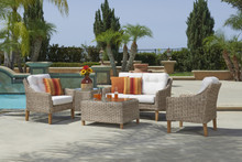 Forever Patio 4 Piece Carlisle Sofa Set with Woven Coffee Table Alabaster Sunbrella Linen Canvas