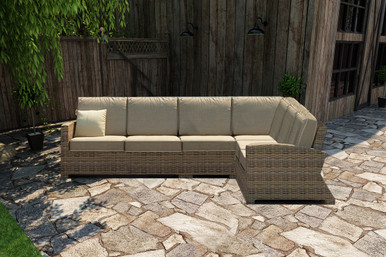 Forever Patio Cypress Collection 4 Piece 90 Degree Wicker Sectional Set Heather Sunbrella Canvas Taupe With Linen Canvas Welt