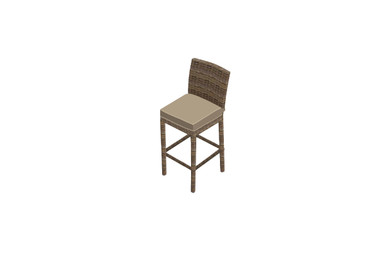 """Forever Patio Cypress 30"""" Armless Bar Stool Heather Sunbrella Canvas Taupe With Linen Canvas Welt"""