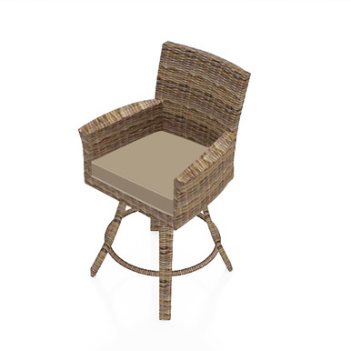 """Forever Patio Cypress 25"""" Swivel Counter Stool  Heather Sunbrella Canvas Taupe With Linen Canvas Welt"""