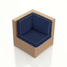 Forever Patio Hampton Wicker Sectional Corner Chair Biscuit Sunbrella Spectrum Indigo With Spectrum Dove Welt