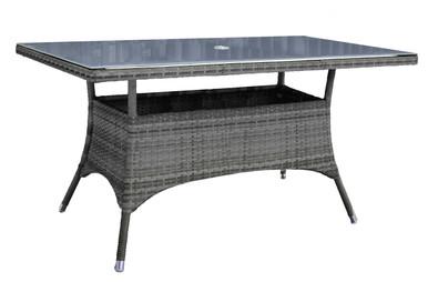 "Hospitality Rattan Ultra Rectangular 36"" x 60"" Dining Table w/ Grey Glass"