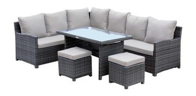Hospitality Rattan Ultra 5 PC Sectional Dining Set with Cushions