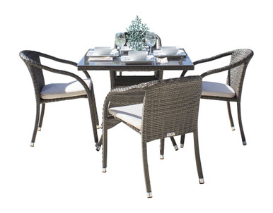 Hospitality Rattan Ultra 5 PC Stackable Woven Armchair Dining Set with Cushions